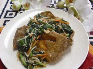 白身魚のから揚げ にらソース
