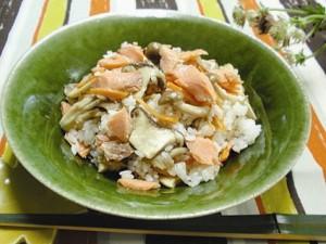塩鮭ときのこの混ぜご飯