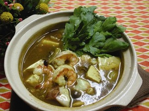 魚介入りカレー豆腐鍋