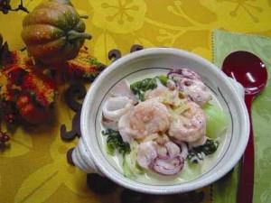 魚介と青菜のチーズクリーム煮