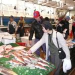 (有)マツウオ 当社は魚食普及としてマグロ解体ショーを催しています。マグロを目の前で捌く光景は迫力満点です。活きた魚に触れるお魚ふれあいコーナーもあり、楽しく活気があります。